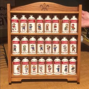 Vintage Campbell Soup spice jars and rack